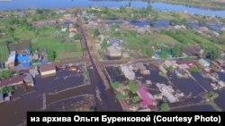 Посёлок Октябрьский в Иркутской области после наводнения.