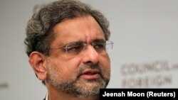 Pakistani Prime Minister Shahid Khaqan Abbasi answers a question during a panel discussion with the Council on Foreign Relations in Manhattan, New York, on September 20.
