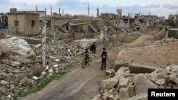 Ավիահարվածների հետևանքով ավերված տներ պատմական Բոսրա ալ-Շամում, Սիրիա, 23-ը փետրվարի, 2016թ.