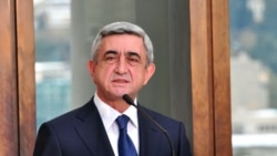 Georgia -- Armenian President Serzh Sarkisian at a press briefing in Tbilisi, 29Nov2011