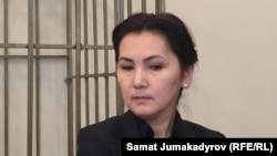 Аида Салянова в бытность депутатом парламента Кыргызстана на суде по ее делу. Бишкек, 7 февраля 2018 года.