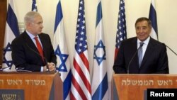 Министр обороны США Леон Панетта (справа) и премьер-министр Израиля Биньямин Нетаньяху
