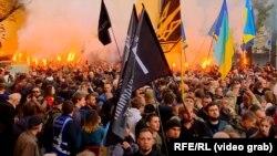 Під час акції в центрі Києва, кадр із прямої трансляції Радіо Свобода