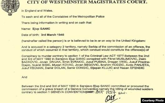 Kopija engleske potjernica za Ejupom Ganićem i ostalima optuženima za slucaj Dobrovoljačka, koja je raspisana na osnovu 'crvene potjernice' iz Srbije