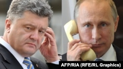 A combo photo of Ukrainian President Petro Poroshenko (left) and Russian President Vladimir Putin