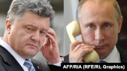 Украина президенті Петр Порошенко (сол жақта) мен Ресей президенті Владимир Путин.