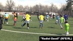 Tajikistan -- Dushanbe, youth Tajik football players, 26 March 2014