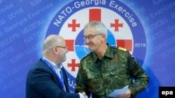 Заместитель Верховного главнокомандующего Объединенным трансформационным командованием НАТО адмирал Манфред Нильсон и министр обороны Грузии Леван Изория