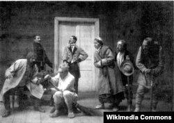Сцэна са спэктакля «Суд» (крайні справа — Уладыслаў Галубок у ролі Авечкі)