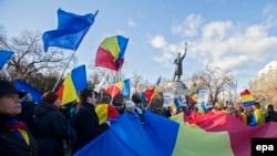 La o demonstrație a unioniștilor la Chișinău