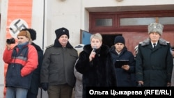 Представитель администрации произносит патриотическую речь. 23 февраля 2020 г. Хабаровск