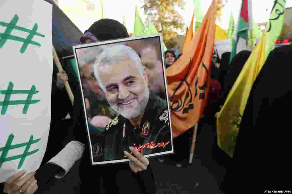 Iran's media has celebrated Soleimani as a national hero. Iranians carried his portrait in the streets of Tehran during a December 2017 protest against U.S. President Donald Trump's declaration of Jerusalem as Israel's capital.