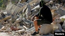 Разрушения на месте землетрясения в Аматриче, центр Италии. 26 августа 2016 года.