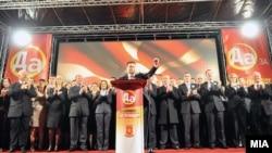 Никола Груевски на предизборен митинг во Охрид. Владејачката ВМРО-ДПМНЕ ја започна предизборната кампања за ланските избори со митинг во Охрид.