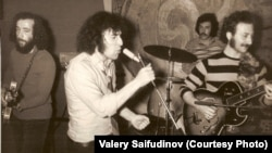 Valery Saifudinov, a pioneer of Soviet rock music, sings at his last concert before emigrating to the United States. Riga, 1974.