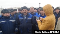 Акция протеста работников компании Techno Trading LTD. Актау, 4 марта 2016 года.