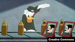 Кадр з мультфільму «Дональд Дак: твар фюрэра». У Расеі ролік занесены ў сьпіс экстрэмісцкіх матэрыялаў