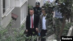 U.S. pastor Andrew Brunson arrives at his home after his trial in Izmir on on October 12.