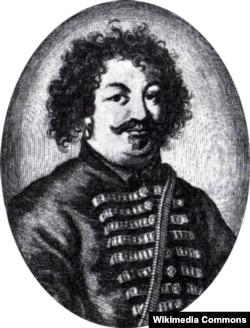 Степан Разін (Разі) (бл. 1630 – 1671) – очільник повстанців під час Селянської війни 1667–1671 років у Московському царстві. Гравюра близько 1671 року. Його батько належав до козацької старшини Війська Донського, а мати, швидше за все, була кримською татаркою