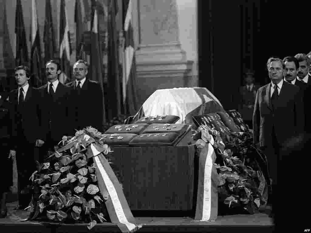 Tito's funeral at the Yugoslav parliament in Belgrade on May 8, 1980