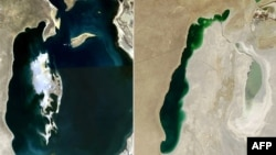 Aral deňziniň NASA tarapyndan kosmosdan düşürlen suratlary. Olaryň çep tarapdakysy 2008-nji ýylda, sag tarapdakysy 2013-nji ýylda surata düşürildi.