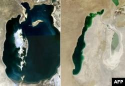 NАСА (АҚШ ғарыш мекемесі) түсірген Арал теңізінің 2008 жылғы (сол жақта) және 2013 жылғы (оң жақта) суреттері. (Көрнекі сурет)