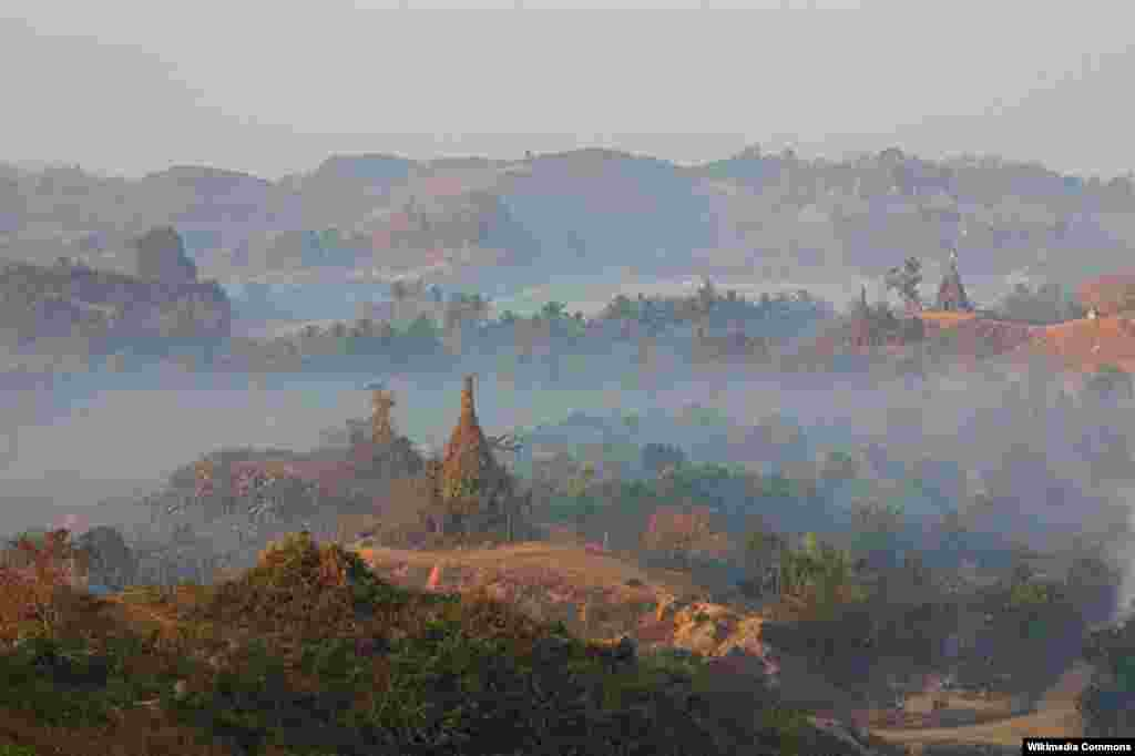 Myanmar's Myauk-U site just after sunrise