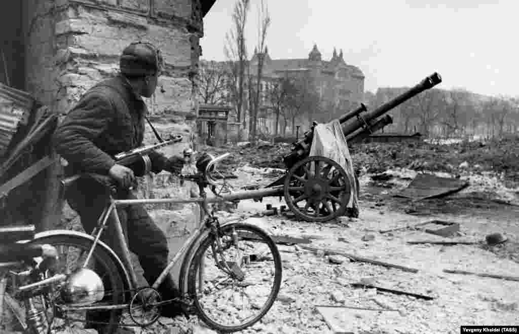 A Red Army soldier in the war-ravaged center of Budapest in 1945.