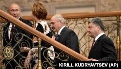 Владимир Путин, Кэтрин Эштон, Александр Лукашенко и Петр Порошенко в Минске, 26 августа 2014 года