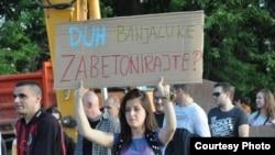Protesti aktivista i građana u Banjaluci zbog uništavanja parka - arhivska fotografija