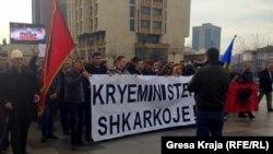 Pamje nga protesta e mbajtur në Prishtinë për shkarkimin e ministrit Jabllanoviq