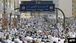 Religious pilgrims approach Mecca's Grand Mosque on December 5.