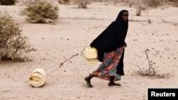 Kenyadan 50 yaşlı qadın ailəsinə su aparır. 21 iyul 2011