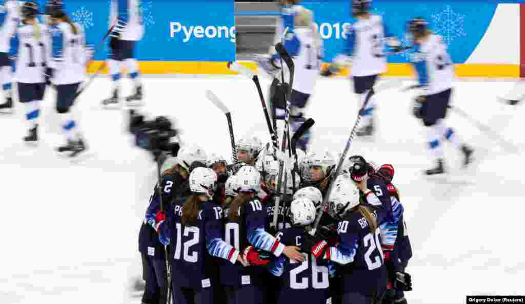 Ice Hockey: Players of Team of the U.S. celebrate their win against the team of Finland with score 5:0 after the Women's Semifinal Match at theGangneung Hockey Centre during thePyeongchang 2018 Winter Olympics, Gangneung, South Korea, February 19, 2018.