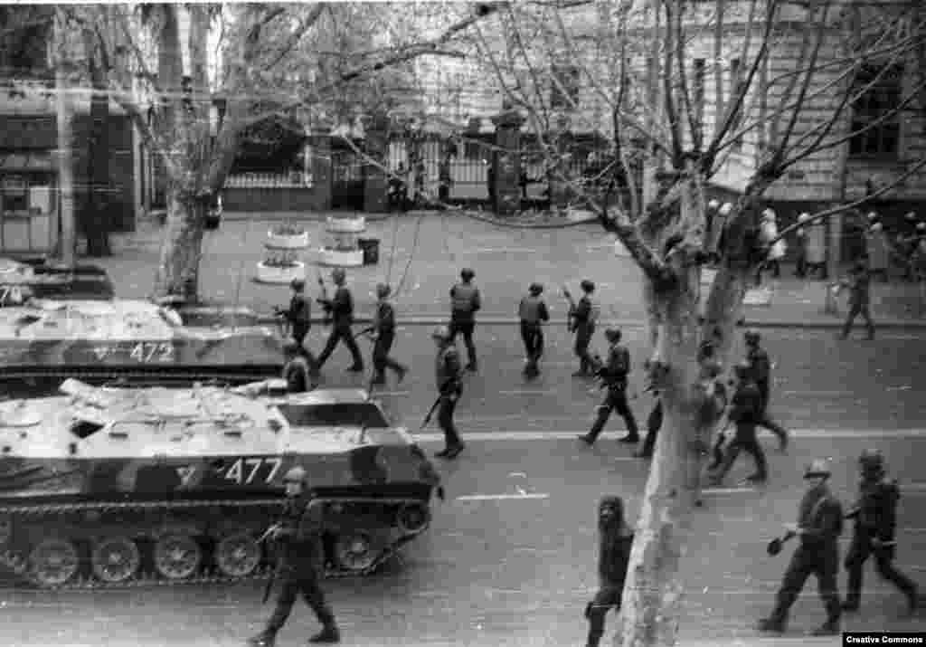 Soviet troops during a brutal crackdown on Georgian independence protesters in Tbilisi in 1989. As Georgian calls for independence from the U.S.S.R were growing louder, Abkhaz began to petition for their own republic inside the Soviet Union.
