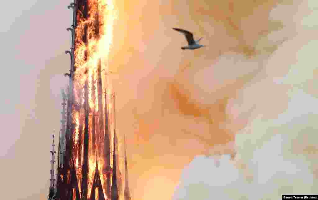 A view of the spire before it collapsed in the blaze on April 15, 2019. The spire was built during a restoration of the cathedral in the 19th century.