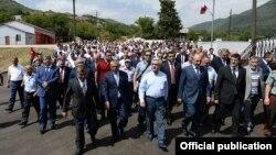 Nagorno-Karabakh - Armenian President Serzh Sarkisian visits Chapar village to inaugurate the newly rebuilt local school, 1Sep2014.