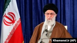 Supreme Leader Ayatollah Ali Khamenei addresses the nation in a televised speech, in Tehran, April 9, 2020