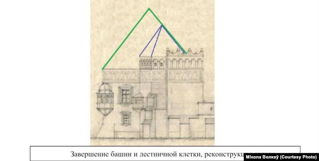 Выгляд паўночнай вежы, прапанова Міколы Волкава