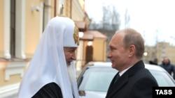Президент Росії Володимир Путін і патріарх Російської православної церкви Кирило, 8 грудня 2014 року