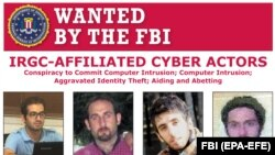 File photo -- FBI image shows a wanted poster of Iranian cyber suspects who are wanted by the FBI for their alleged involvement in criminal activities to include computer intrusion. February 2019.