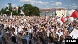 Ալեքսանդր Լուկաշենկոյի վերընտրության դեմ բողոքներ են ոչ միայն Մինսկում, այլև Բելարուսի մյուս քաղաքներում, Գրոդնո, 14 օգոստոսի, 2020թ.