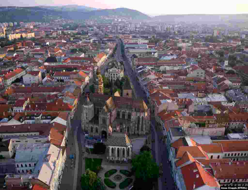 Kosice, Slovakia. The main boulevard of Kosice looks like it was unzipped just wide enough to fit St. Elizabeth Cathedral.