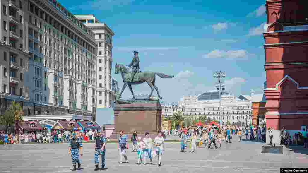 A file photo taken in 2016 shows the statue of Zhukov standing up on his stirrups and extending a hand as if halting the Nazi advance into Soviet Russia. The statue was installed in 1995.