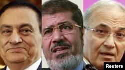 Скинутий президент Хосні Мубарак, кандидати на посаду Мохаммед Мурсі (в центрі) і Ахмед Шафік (праворуч)