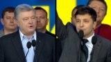 Ukraine - composite photo - President Petro Poroshenko and his rival, actor Volodymyr Zelenskiy, at a debate, April 19 - screen grab