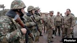 Armenia - Defense Minister Vigen Sargsian (R) inspects troops deployed along the border with Azerbaijan, 8Nov2017.