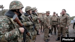 Armenia - Defense Minister Vigen Sargsian (R) inspects troops deployed along the border with Azerbaijan, 8Nov2017.