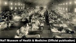 Ліжка з пацієнтами в таборі «Кемп Фанстон» (США) в період пандемії грипу «іспанки», близько 1918 року