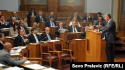 Montenegro - Parliament of Montenegro, Prime minister Milo Djukanovic, 23Jul2014.